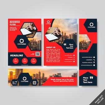 Pakiet biznesowy ulotki, nagłówka i szablonu pakietu