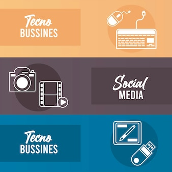 Pakiet biznesowy zestaw ikon i napisów techno
