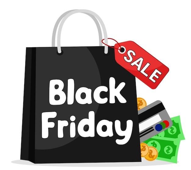 Pakiet black friday z pieniędzmi i kartą kredytową na białym tle.