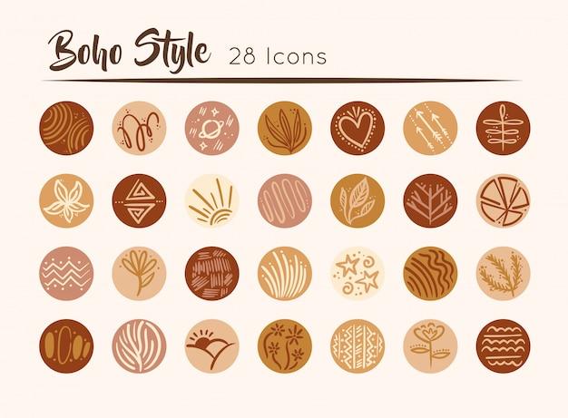 Pakiet boho zestaw ikon ilustracji