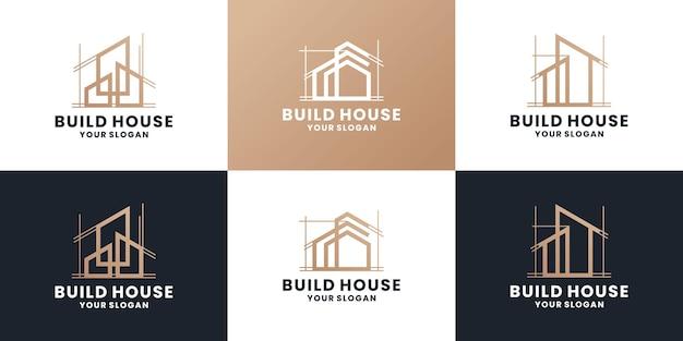 Pakiet budowy domu, nieruchomości, projektowanie logo domu