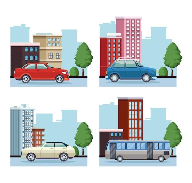 Pakiet budynków miasta z samochodami i autobusem