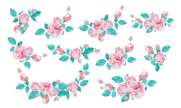 Pakiet bukiet róż w stylu przypominającym akwarele na zaproszenie na ślub lub kartkę z życzeniami.