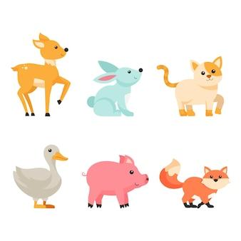 Pakiet cute cartoon zwierząt spacer na białym tle, izolowane postacie płaskie piękne zwierzę ilustracja koncepcja