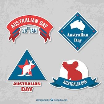 Pakiet czterech dzień australii etykiet z ciekawymi motywami