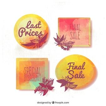 Pakiet czterech etykiet sprzedaży malowane akwarelą