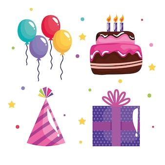 Pakiet czterech ikon uroczystości urodzinowych