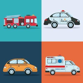 Pakiet czterech ilustracji pojazdów transportu miejskiego
