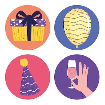 Pakiet czterech ilustracji zestaw ikon urodziny