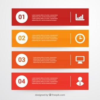 Pakiet czterech infographic transparenty z białymi dodatkami