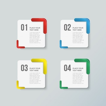 Pakiet czterech kolorowych opcji infografiki