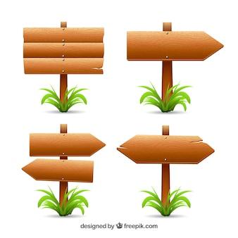 Pakiet czterech znaków drewna