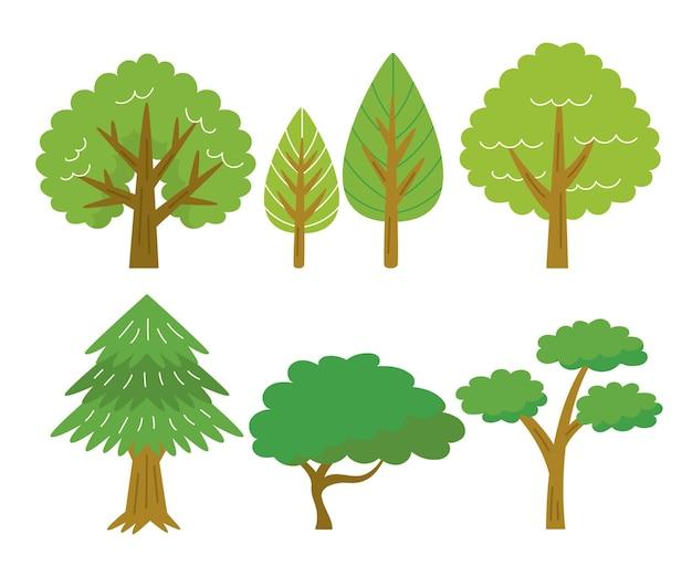 Pakiet drzew w stylu płaskim