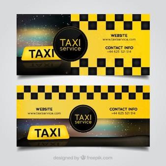 Pakiet dwóch abstrakcyjnych banerów żółtych taksówek