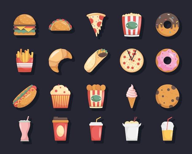 Pakiet dwudziestu fast foodów zestaw ikon