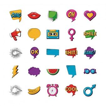 Pakiet dwudziestu pięciu ikon kolekcji pop-artu