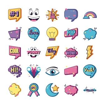 Pakiet dwudziestu pięciu ikon slangowych