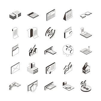 Pakiet dwudziestu pięciu podatków zestaw ikon