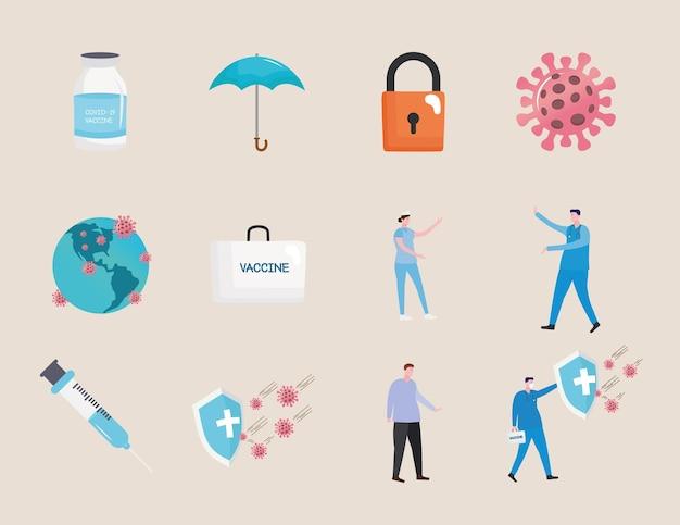 Pakiet dwunastu covid19 zestaw ikon ilustracji