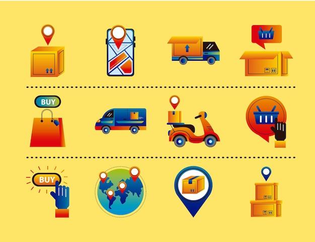 Pakiet dwunastu usług dostawy online zestaw ikon wektorowych ilustracji projektu