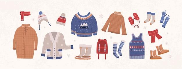 Pakiet dzianin zimowych ubrań i odzieży wierzchniej na białym tle na jasnym tle - wełniany sweter, kardigan, kamizelka, śniegowce, czapka, rękawiczki, skarpetki. zestaw odzieży sezonowej. ilustracja wektorowa płaski.
