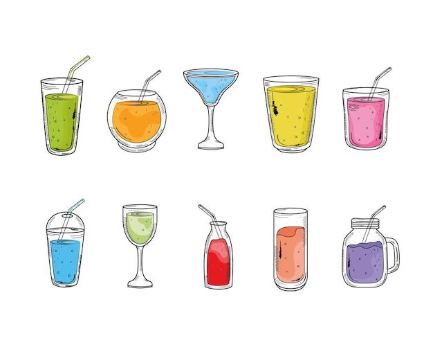 Pakiet dziesięciu napojów zestaw ikon ilustracja projekt