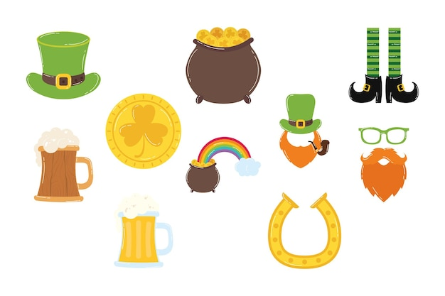 Pakiet dziesięciu świętego patryka zestaw ikon ilustracji