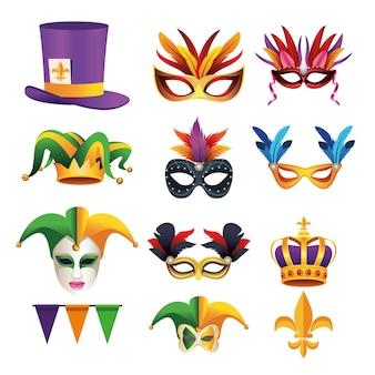 Pakiet dziewięć obchodów karnawału mardi gras ustawić ikony na białym tle ilustracji