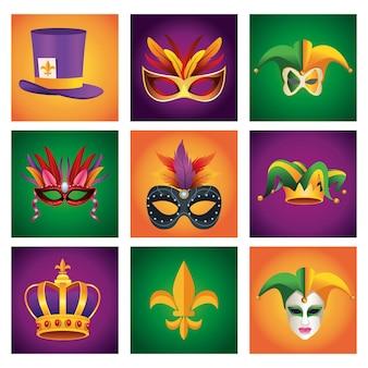 Pakiet dziewięć obchodów karnawału mardi gras zestaw ikon ilustracji