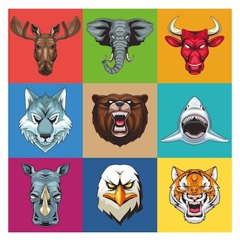 Pakiet dziewięciu dzikich zwierząt głowy postaci ilustracji