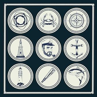 Pakiet dziewięciu elementów morskich szare zestaw ikon ilustracji