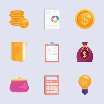 Pakiet dziewięciu ilustracji zestaw ikon zarządzania oszczędnościami