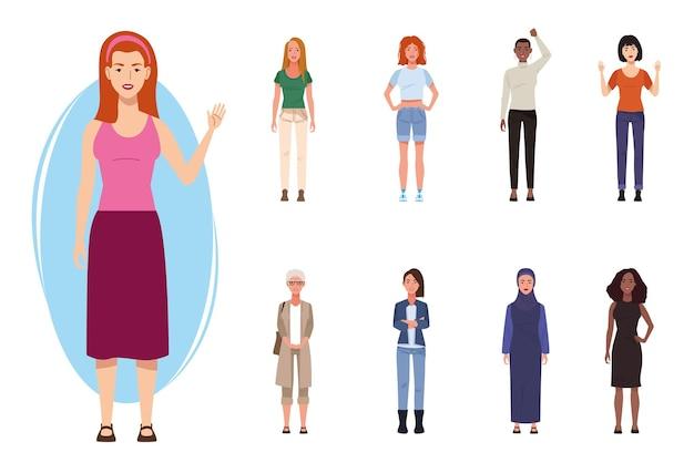 Pakiet dziewięciu pięknych postaci kobiet ilustracji