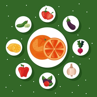 Pakiet dziewięciu świeżych owoców i warzyw zdrowej żywności zestaw ikon ilustracja projekt