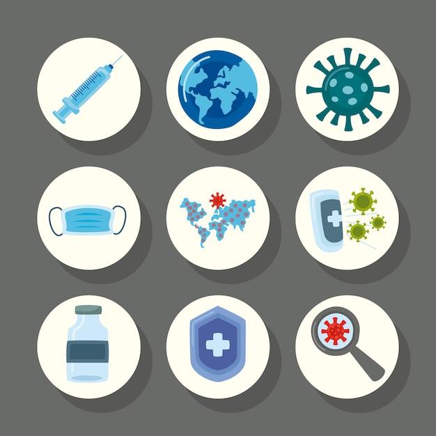 Pakiet dziewięciu szczepionek wirusowych zestaw ikon ilustracji
