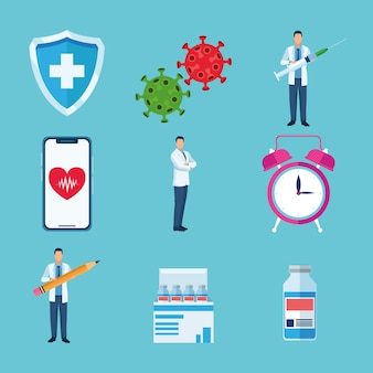 Pakiet dziewięciu szczepionek zestaw ikon ilustracji