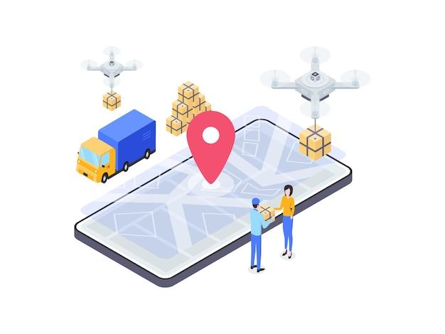 Pakiet e-commerce wysłany izometryczny ilustracja. nadaje się do aplikacji mobilnych, stron internetowych, banerów, diagramów, infografik i innych zasobów graficznych.