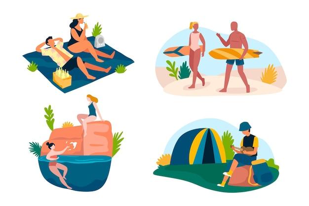 Pakiet ekologicznych płaskich scen letnich