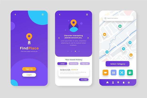 Pakiet ekranów aplikacji lokalizacji