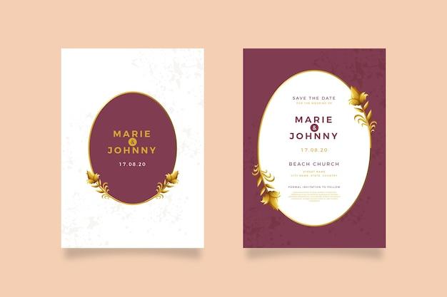 Pakiet elegancki szablon zaproszenia ślubne