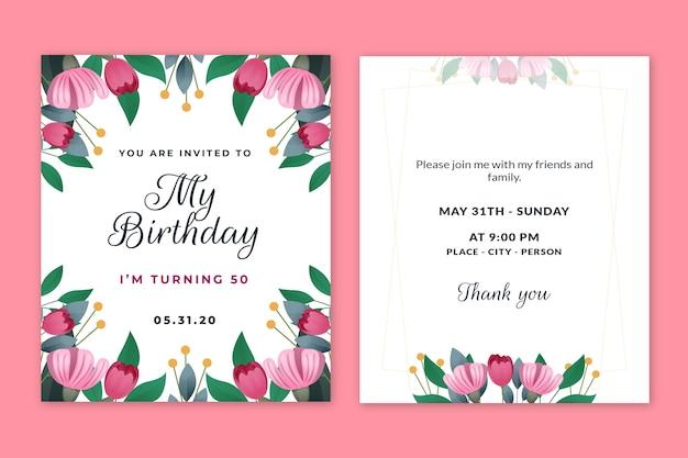 Pakiet elegancki szablon zaproszenia urodzinowe