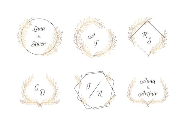 Pakiet eleganckich monogramów ślubnych