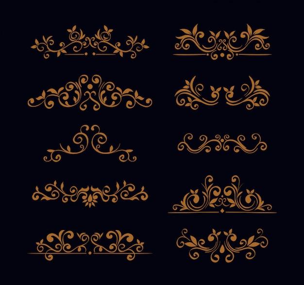 Pakiet eleganckich ozdobnych ramek