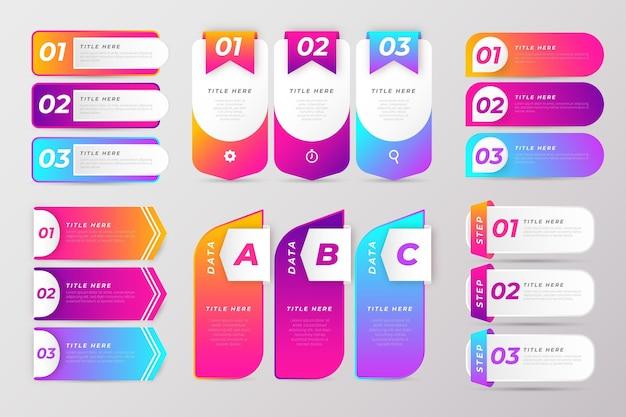 Pakiet elementów infografiki gradientu