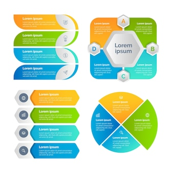 Pakiet elementów infografiki w stylu gradientu