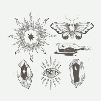 Pakiet elementów ręcznie rysowanych boho