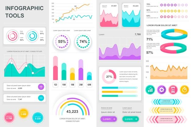 Pakiet elementów szablonu elementów infografiki ui ux kit