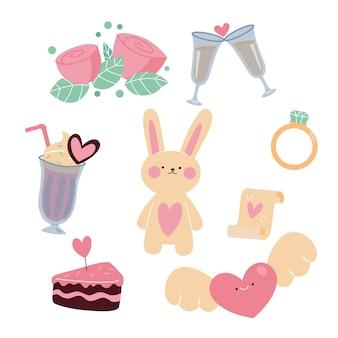 Pakiet Elementów Walentynkowych Darmowych Wektorów