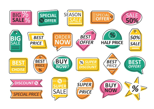 Pakiet etykiet na białym tle. zestaw kolorowych przywieszek do sprzedaży i rabatów w sklepie lub sklepie - najlepsza oferta, cena, wybór. kreatywne kolorowe ilustracje do promocji, reklamy