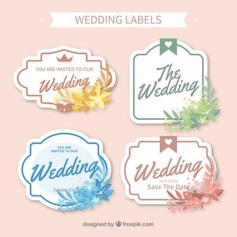 Pakiet etykiety ślub w różnych kolorach